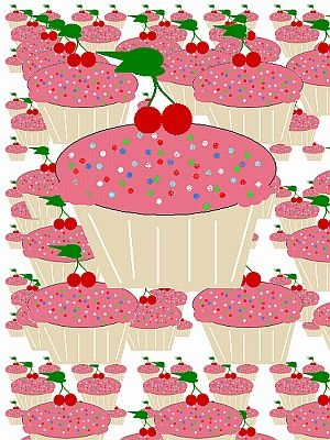 Many Beautiful Cherry Cupcakes