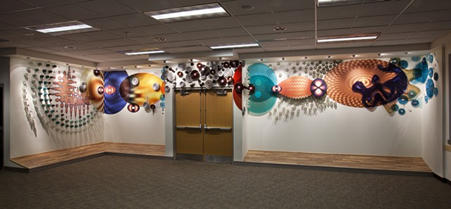 panoramic view of installation, North Service Center, Seattle City Light. Kate Sweeney 2012
