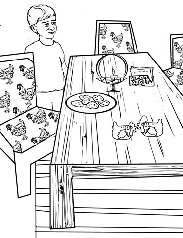 """UUA curriculum for ages 3-7 coloring page for the story """"The Memory Table"""" (draft)"""
