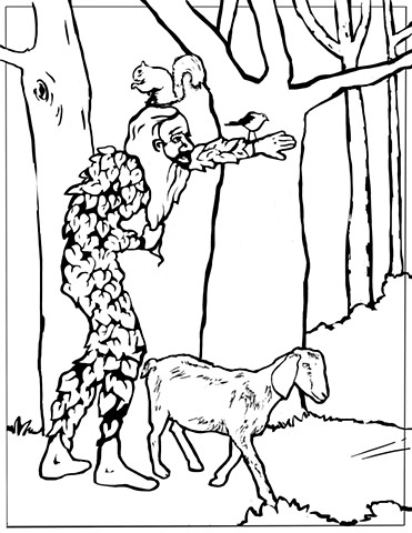 "UUA curriculum for ages 3-7 coloring page for the story ""The Green Man"""