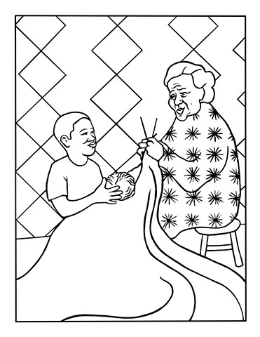 """UUA curriculum for ages 3-7 coloring page for the story """"The Real Gift"""""""