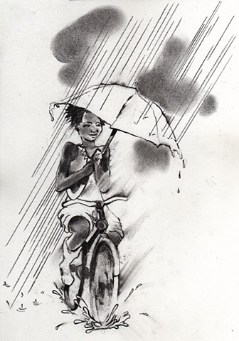 Biking in the rain, the Whatever Issue. LADYGUNN MAGAZINE ISSUE #7. by Amy Paschall