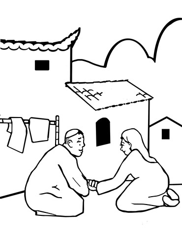 "UUA curriculum for ages 3-7 coloring page for the story ""The Wise Sailimai, A Muslim Tale from China"""
