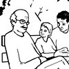 """UUA curriculum for ages 3-7 coloring page for the story """"Love Without Boundaries"""" that loving families come in all shapes, colors, and sizes"""