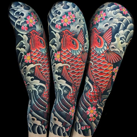 Koi Fish Tattoo Half Sleeve  by Fran Massino at stay humble tattoo company in baltimore maryland the best tattoo shop and artist in baltimore maryland specializing in Japanese tattoo