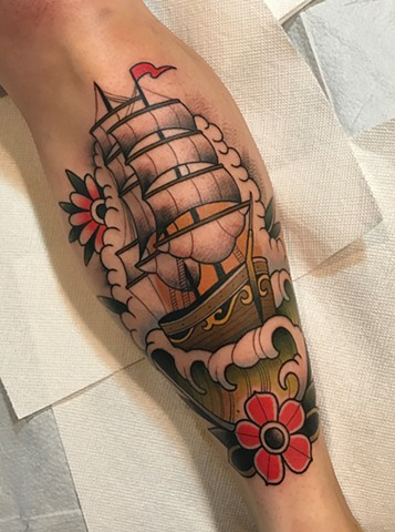 traditional ship nautical tattoo by tattoo artist dave wah at stay humble tattoo company the best tattoo shop in baltimore maryland
