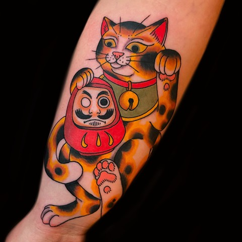 Japanese lucky cat tattoo  by Fran Massino at stay humble tattoo company in baltimore maryland the best tattoo shop and artist in baltimore maryland specializing in Japanese tattoo