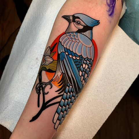 blue jay tattoo by dave wah at stay humble tattoo company in baltimore maryland the best tattoo shop and artist in baltimore maryland