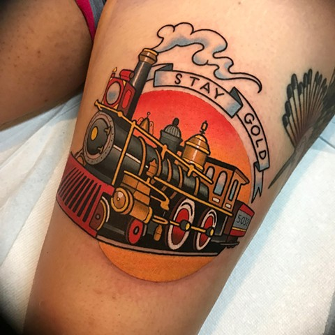 Train tattoo by dave wah