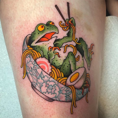 Frog and Ramen tattoo  by Fran Massino at stay humble tattoo company in baltimore maryland the best tattoo shop and artist in baltimore maryland specializing in Japanese tattoo