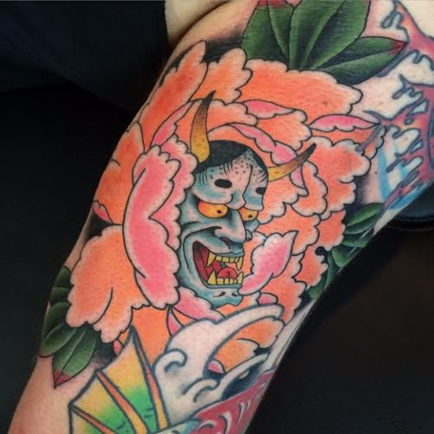 Japanese Flower and Hannya Mask Tattoo done by Fran Massino Maryland Tattoo Artist