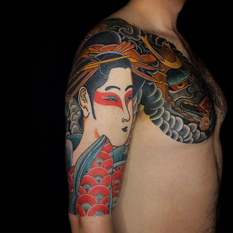Geisha Tattoo  by Fran Massino at stay humble tattoo company in baltimore maryland the best tattoo shop and artist in baltimore maryland specializing in Japanese tattoo