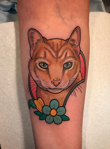cat tattoo by dave wah at stay humble tattoo company in baltimore maryland the best tattoo shop in baltimore maryland