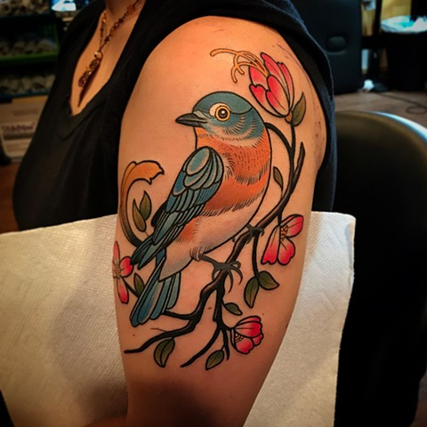 eastern bluebird tattoo by dave wah at stay humble tattoo company in baltimore maryland the best tattoo shop and artist in baltimore maryland