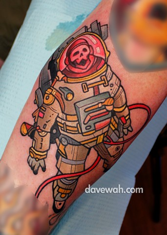 astronaut tattoo by dave wah at stay humble tattoo company in baltimore maryland