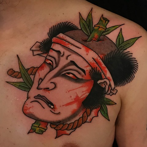Japanese Namakubi  by Fran Massino at stay humble tattoo company in baltimore maryland the best tattoo shop and artist in baltimore maryland specializing in Japanese tattoo