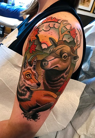 fox and elk tattoo by dave wah at stay humble tattoo company in baltimore maryland the best tattoo shop and artist in baltimore maryland