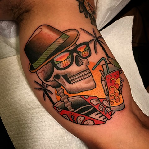 skull tattoo by dave wah at stay humble tattoo company in baltimore maryland the best tattoo shop and artist in baltimore maryland