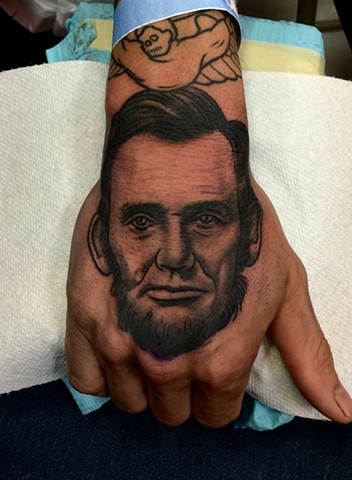 Abraham Lincoln tattoo by Dave Wah