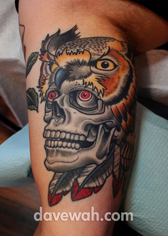 skull and headdress tattoo by dave wah at stay humble tattoo company in baltimore maryland the best tattoo shop in baltimore maryland