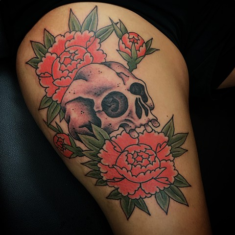 Japanese Peony and Skull  by Fran Massino at stay humble tattoo company in baltimore maryland the best tattoo shop and artist in baltimore maryland specializing in Japanese tattoo