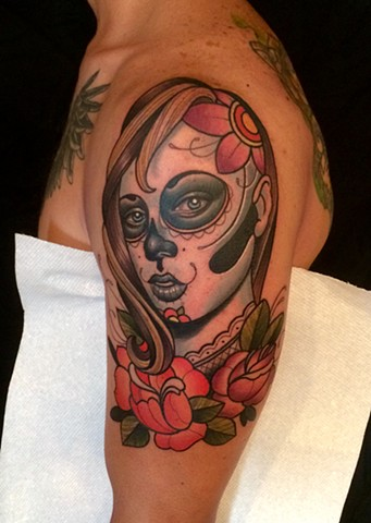 day of the dead tattoo by dave wah at stay humble tattoo company in baltimore maryland the best tattoo shop in baltimore maryland