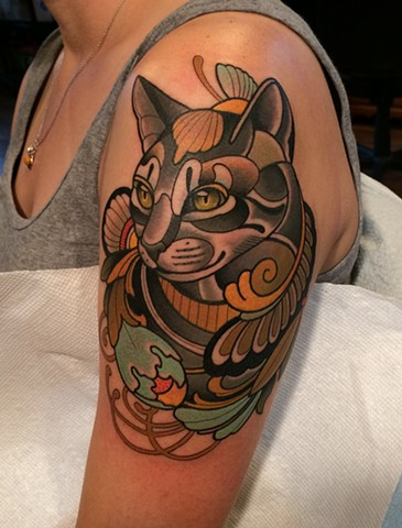 Cat tattoo by dave wah