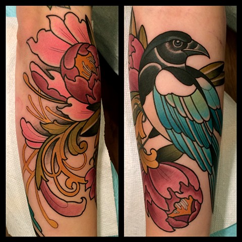 magpie and flower tattoo by Dave Wah