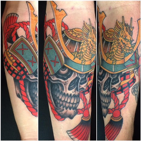 Japanese Samuari and Skull Tattoo