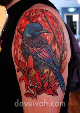 grackle bird tattoo by dave wah at stay humble tattoo company in baltimore maryland