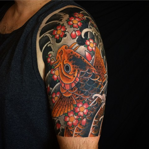 Koi Half Sleeve by  by Fran Massino at stay humble tattoo company in baltimore maryland the best tattoo shop and artist in baltimore maryland specializing in Japanese tattoo