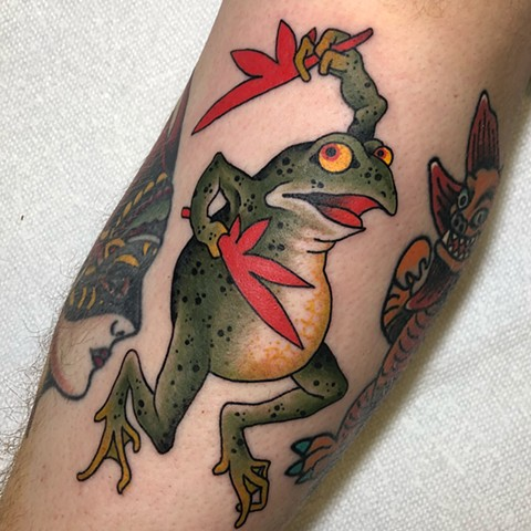 Japanese Frog  by Fran Massino at stay humble tattoo company in baltimore maryland the best tattoo shop and artist in baltimore maryland specializing in Japanese tattoo