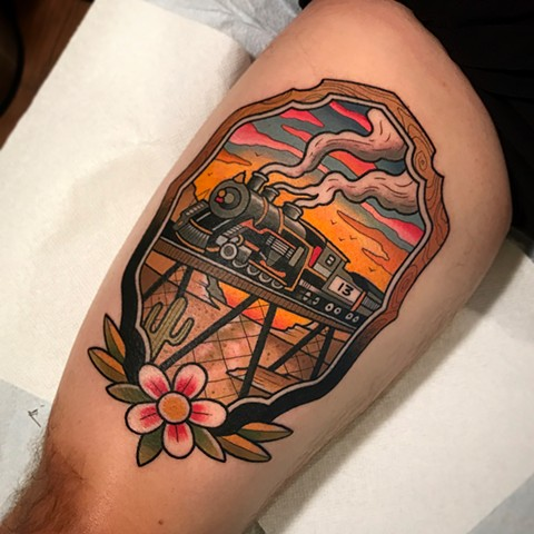 train tattoo by dave wah at stay humble tattoo company in baltimore maryland the best tattoo shop and artist in baltimore maryland