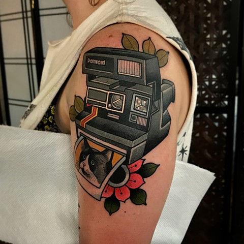 polaroid camera tattoo by dave wah