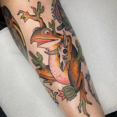 Japanese inspired frog done by Fran Massino at Stay humble Baltimore Tattoo Shop Japanese Tattoo
