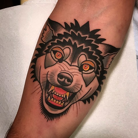 wolf tattoo by dave wah