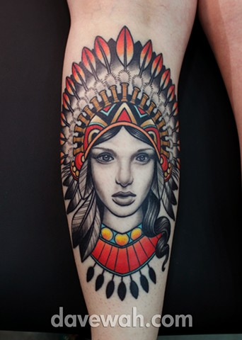 girl with indian headdress tattoo by dave wah at stay humble tattoo company in baltimore maryland