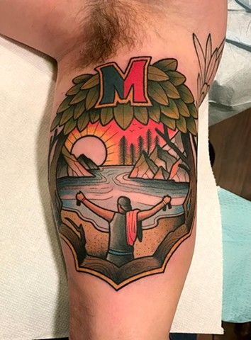 memorial landscape tattoo by tattoo artist dave wah at stay humble tattoo company the best tattoo shop in baltimore maryland