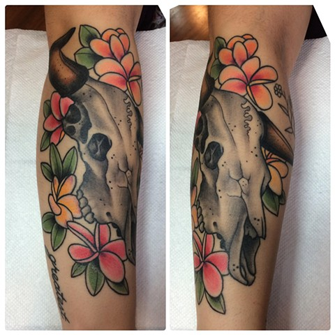 Ox skull tattoo done by Fran Masino
