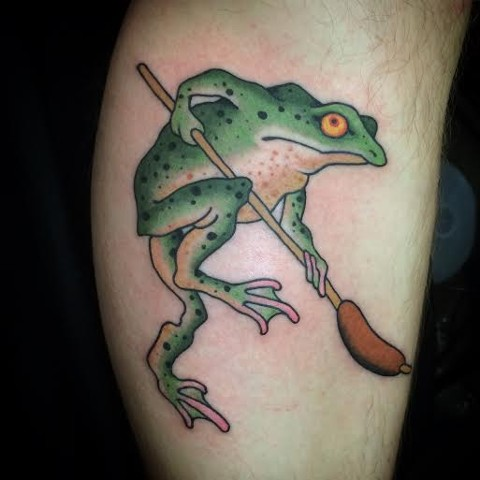 Japanese Frog and Cat tail done by Fran Massino