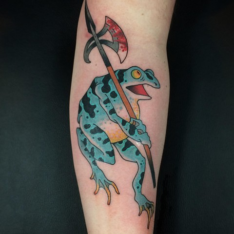 Japanese woodblock print style frog tattoo