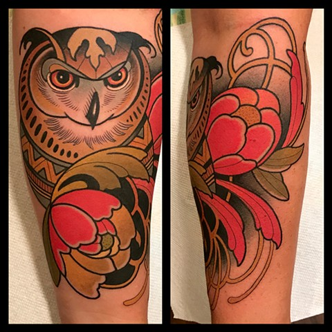 owl tattoo by tattoo artist dave wah at stay humble tattoo company the best tattoo shop in baltimore maryland