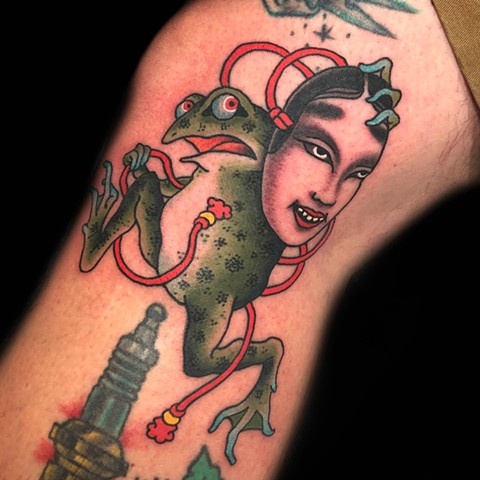 Frog and Noh Mask  by Fran Massino at stay humble tattoo company in baltimore maryland the best tattoo shop and artist in baltimore maryland specializing in Japanese tattoo