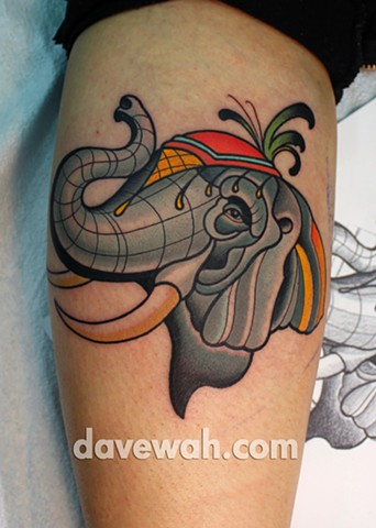 elephant tattoo by dave wah at stay humble tattoo company in baltimore maryland the best tattoo shop in baltimore maryland