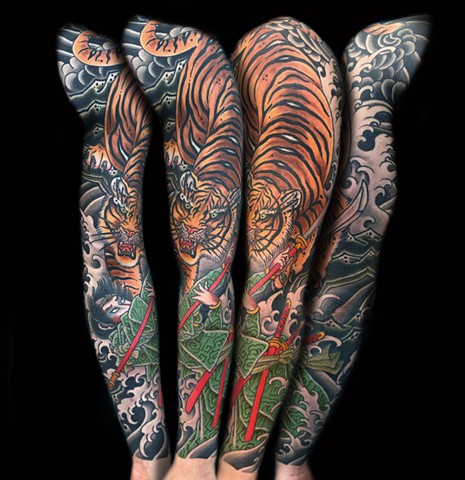 Japanese Tiger and Samurai Sleeve  by Fran Massino at stay humble tattoo company in baltimore maryland the best tattoo shop and artist in baltimore maryland specializing in Japanese tattoo