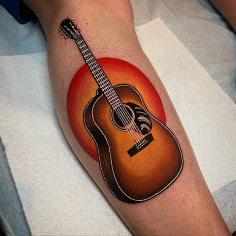 guitar tattoo by dave wah at stay humble tattoo company in baltimore maryland the best tattoo shop and artist in baltimore maryland