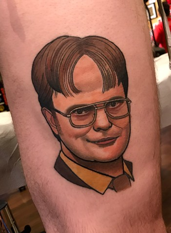 dwight schrute portrait tattoo by dave wah at stay humble tattoo company in baltimore maryland the best tattoo shop and artist in baltimore maryland