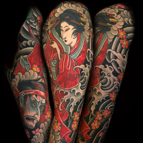 Japanese Half Sleeve Geisha Tattoo  by Fran Massino at stay humble tattoo company in baltimore maryland the best tattoo shop and artist in baltimore maryland specializing in Japanese tattoo