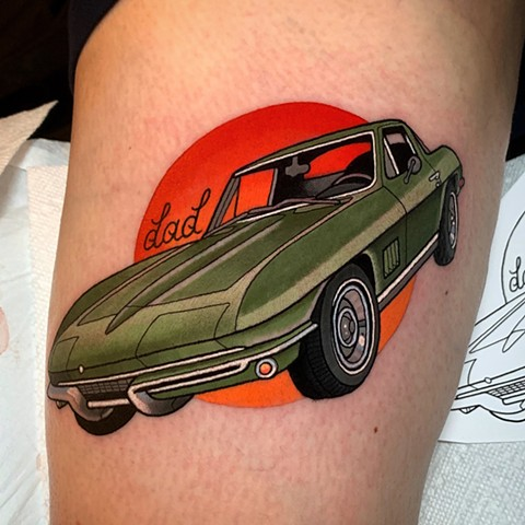 1967 corvette coupe tattoo by tattoo artist dave wah at stay humble tattoo company in baltimore maryland the best tattoo shop in baltimore maryland