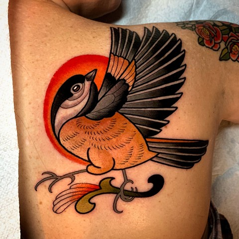 chickadee tattoo by tattoo artist dave wah at stay humble tattoo company in baltimore maryland the best tattoo shop in baltimore maryland